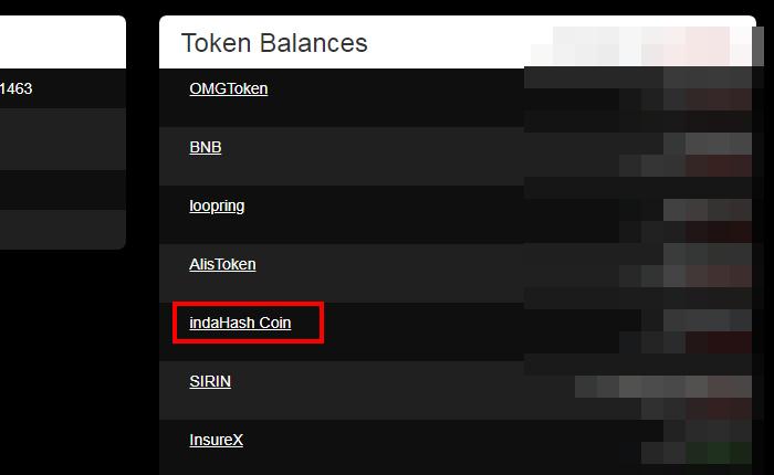 indaHash(IDH)のカスタムトークンを追加